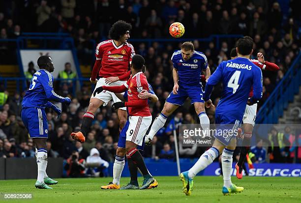 Branislav Ivanovic of Chelsea wins a header during the Barclays Premier League match between Chelsea and Manchester United at Stamford Bridge on...