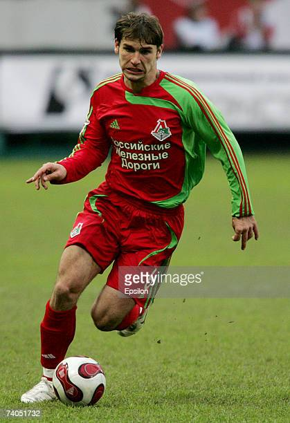 Branislav Ivanovic of FC Lokomotiv Moscow in action during the Russian Cup Semi Final match between FC Lokomotiv and FC Spartak on May 02 2007 in...