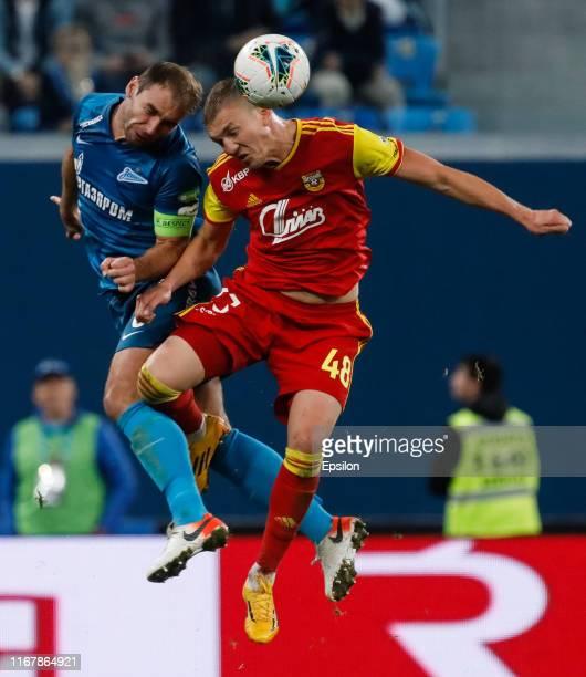 Branislav Ivanovic of FC Zenit Saint Petersburg and Yevgeni Lutsenko of FC Arsenal Tula vie for a header during the Russian Premier League match...