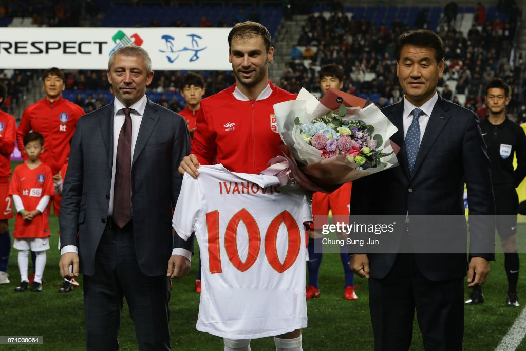 Branislav Ivanovic of Serbia celebrates his 100th national team match during the international friendly match between South Korea and Serbia at Ulsan World Cup Stadium on November 14, 2017 in Ulsan, South Korea.