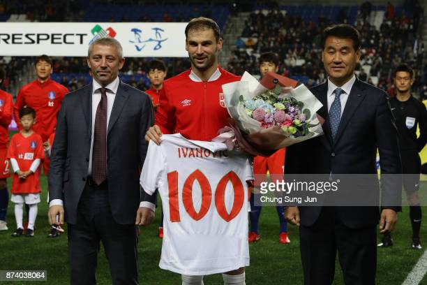 Branislav Ivanovic of Serbia celebrates his 100th national team match during the international friendly match between South Korea and Serbia at Ulsan...