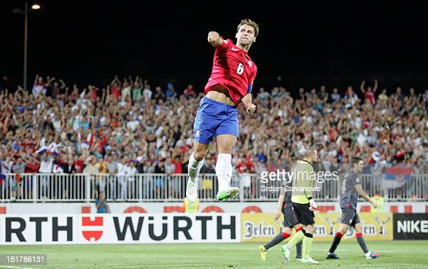 Branislav Ivanovic of Serbia celebrates scoring a goal during the FIFA 2014 World Cup Qualifier at stadium Karadjordje Park between Serbia and Wales...