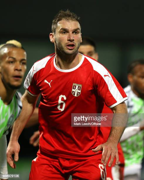 Branislav Ivanovic of Serbia during the International Friendly match between Nigeria and Serbia at The Hive on March 27 2018 in Barnet England