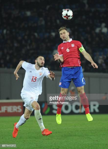 Branislav Ivanovic of Serbia in action during the 2018 FIFA World Cup Qualification match between Georgia and Serbia in Tbilisi Georgia on March 24...