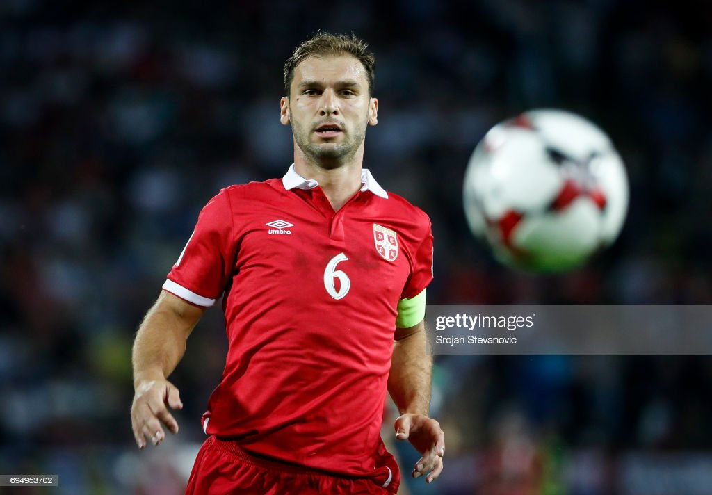 Branislav Ivanovic of Serbia in action during the FIFA 2018 World Cup Qualifier between Serbia and Wales at stadium Rajko Mitic on June 11, 2017 in Belgrade, Serbia.