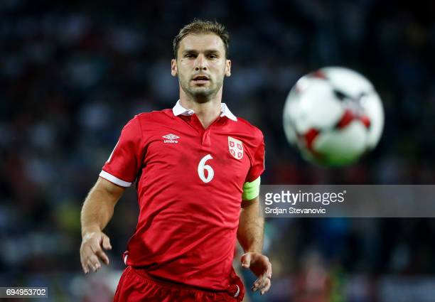 Branislav Ivanovic of Serbia in action during the FIFA 2018 World Cup Qualifier between Serbia and Wales at stadium Rajko Mitic on June 11 2017 in...