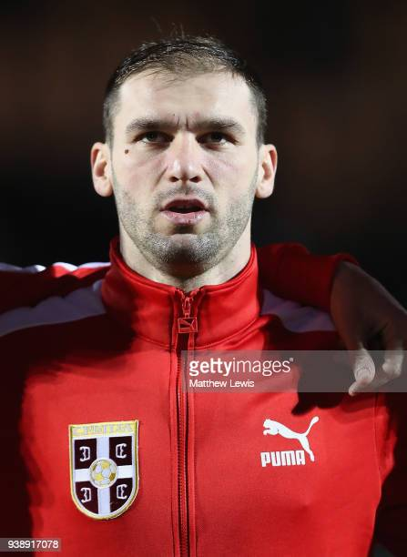 Branislav Ivanovic of Serbia pictured ahead of the International Friendly match between Nigeria and Serbia at The Hive on March 27 2018 in Barnet...