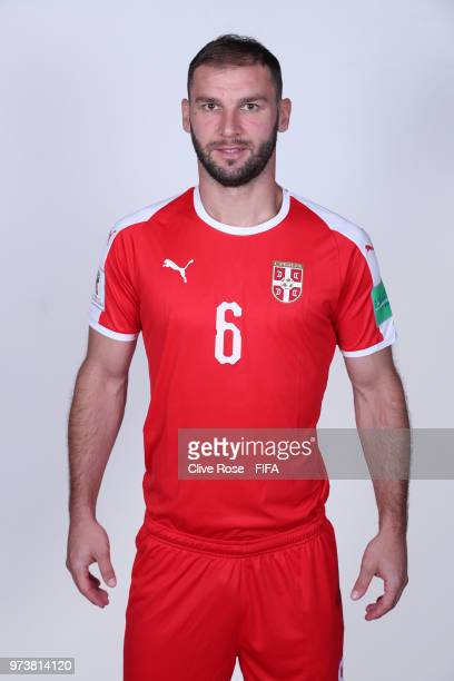 Branislav Ivanovic of Serbia poses for a portrait during the official FIFA World Cup 2018 portrait session at the Team Hotel on June 12 2018 in...