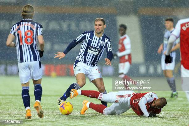 Branislav Ivanovic of West Bromwich Albion and Alexandre Lacazette of Arsenal during the Premier League match between West Bromwich Albion and...