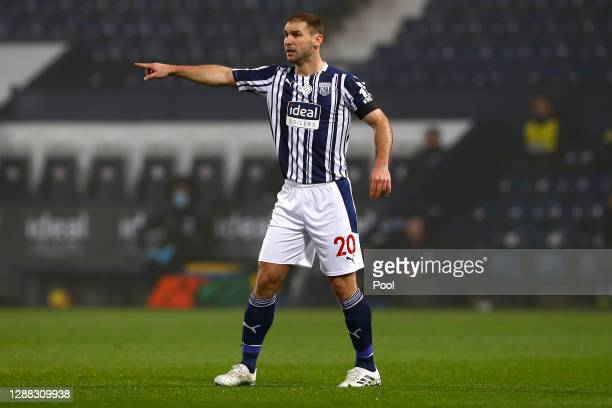 Branislav Ivanovic of West Bromwich Albion gestures during the Premier League match between West Bromwich Albion and Sheffield United at The...