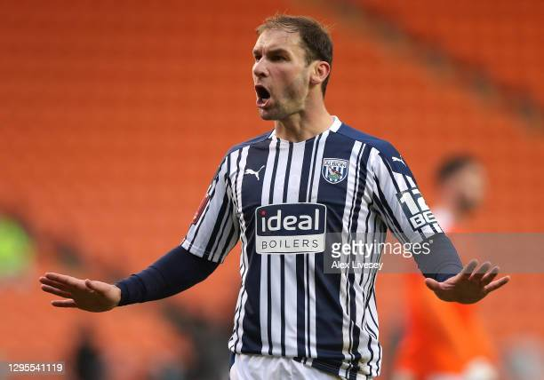 Branislav Ivanovic of West Bromwich Albion reacts during the FA Cup Third Round match between Blackpool and West Bromwich Albion on January 09, 2021...