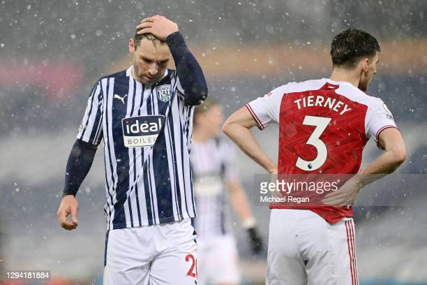 Branislav Ivanovic of West Bromwich Albion reacts during the Premier League match between West Bromwich Albion and Arsenal at The Hawthorns on...