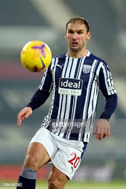 Branislav Ivanovic of West Bromwich Albion runs with the ball during the Premier League match between West Bromwich Albion and Arsenal at The...