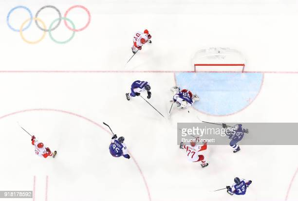Branislav Konrad of Slovakia makes a save against Kirill Kaprizov of Olympic Athlete from Russia in the third period during the Men's Ice Hockey...
