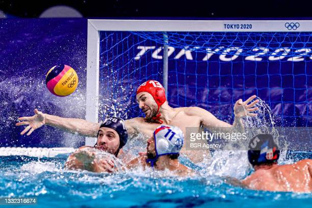 Branislav Mitrovic of Team Serbia during the Waterpolo Tournament Men's Quarterfinal match between Italy and Serbia on day twelve of the Tokyo 2020...
