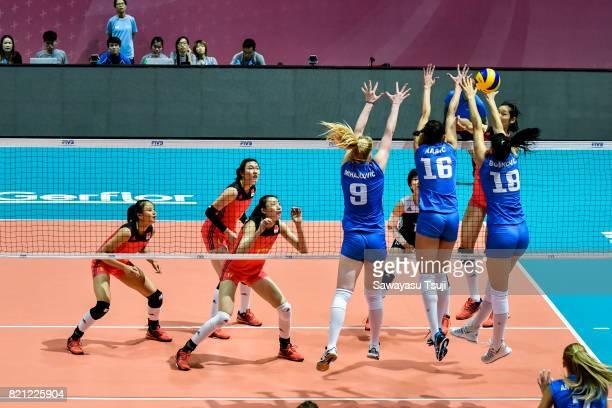 Brankica Mihajlovic Milena Rasic and Tijana Boskovic of Serbia block the ball during the FIVB Volleyball World Grand Prix match between China and...