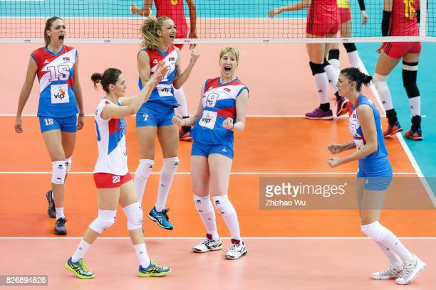 Brankica Mihajlovic of Serbia celebrates during 2017 Nanjing FIVB World Grand Prix Finals between China and Serbia on August 6 2017 in Nanjing China