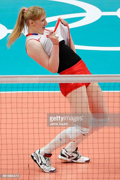 Brankica Mihajlovic of Serbia reacts while taking on the United States in the Women's Volleyball Semifinal match at the Maracanazinho on Day 13 of...