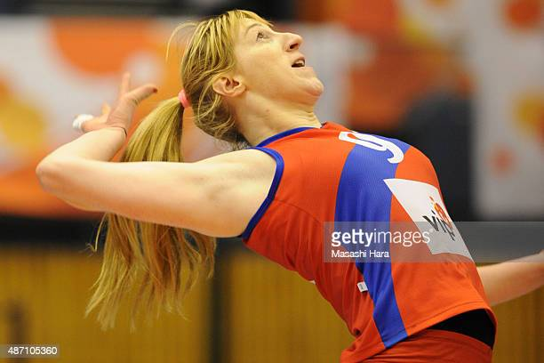 Brankica Mihajlovic of Serbia spikes during the match between Argentina and Serbia during the FIVB Women's Volleyball World Cup Japan 2015 at Park...
