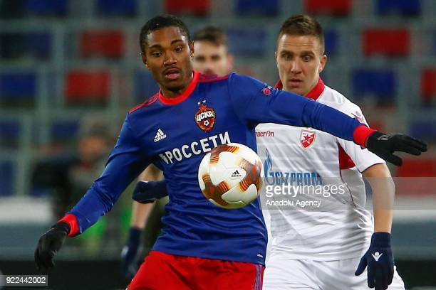 Branko Jovicic of Crvena Zvezda in action against Vitinho of CSKA Moscow during the UEFA Europa League round of 32 second leg soccer match between...