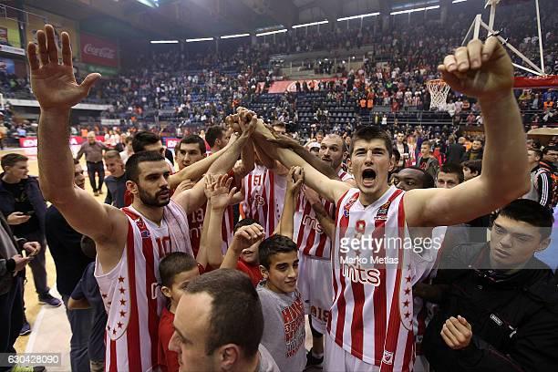 Branko Lazic #10 and Luka Mitrovic #9 of Crvena Zvezda mts Belgrade celebrate during the 2016/2017 Turkish Airlines EuroLeague Regular Season Round...