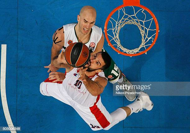 Branko Lazic #10 of Crvena Zvezda Telekom Belgrade competes with Nick Calathes #15 of Panathinaikos Athens during the Turkish Airlines Euroleague...