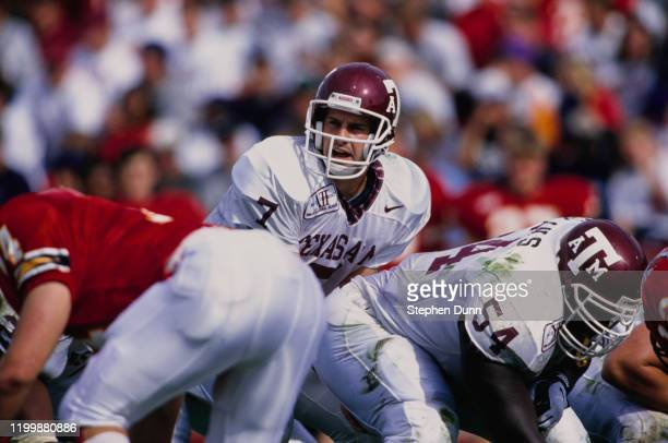 Branndon Stewart, Quarterback for the Texas A&M Aggies calls the play during the NCAA Big 12 Conference college football game against the Iowa State...