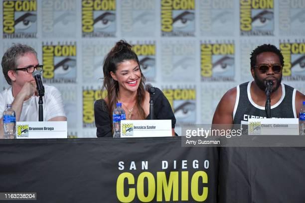 Brannon Braga Jessica Szohr Chad Coleman speak at The Orville Panel during 2019 ComicCon International at San Diego Convention Center on July 20 2019...