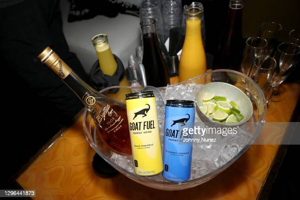 Branson Cognac VSOP and G.O.A.T. Fuel energy drinks are served during Barry Mullineaux's birthday party hosted by 50 Cent on January 14, 2021 in...