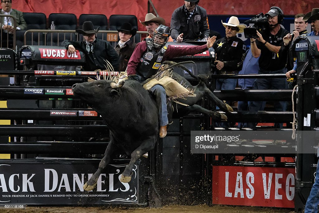 Brant Atwood rides during the 2017 Professional Bull Riders Monster Energy Buck Off at the Garden at Madison Square Garden on January 6, 2017 in New York City.