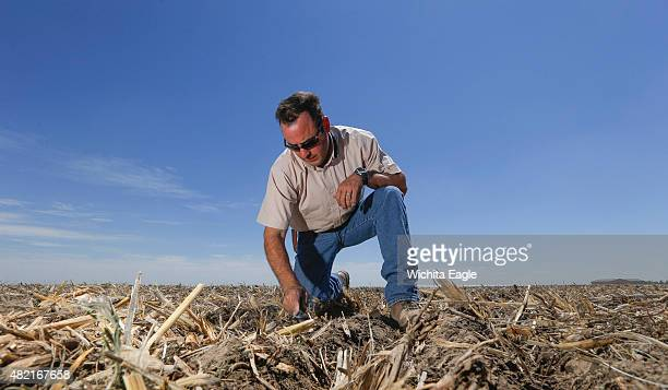 Brant Peterson examines some soil on his farm on June 10 2015 in Stanton County Kan Peterson says he's noticed that the Ogallala aquifer from which...