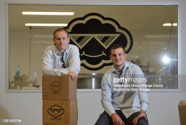 Brant Peto left and Rob Crossley coowners of Cosmic Fog Vapors in Costa Mesa The company does their manufacturing in a 'clean room' and distributes...