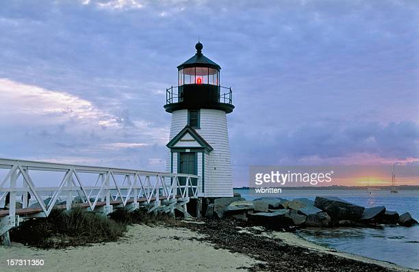brant point lighthouse - nantucket stock pictures, royalty-free photos & images