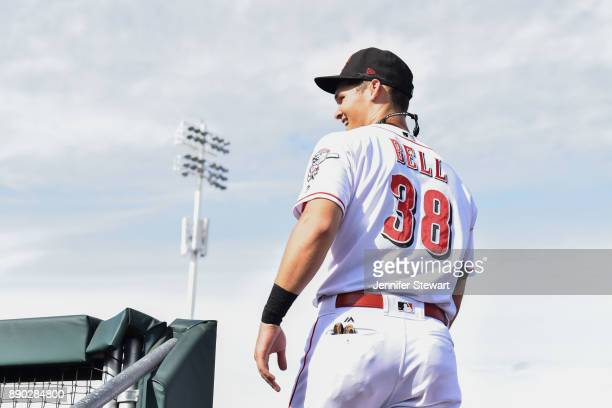 Brantley Bell of Scottsdale Scorpions smiles while taking the field in the Arizona Fall League game against the Surprise Saguaros at Scottsdale...