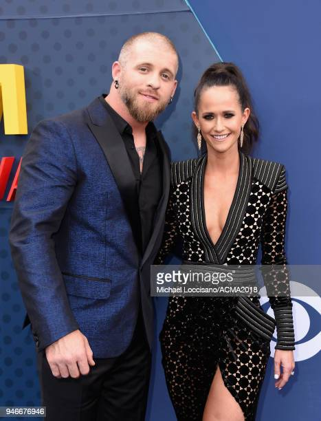 Brantley Gilbert and Amber Cochran attend the 53rd Academy of Country Music Awards at MGM Grand Garden Arena on April 15 2018 in Las Vegas Nevada