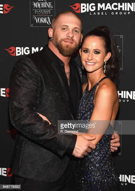 Brantley Gilbert and Amber Gilbert attend the 53rd Annual ACM Awards celebration with Big Machine Label Group at MGM Grand Hotel Casino on April 15...