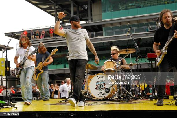 Brantley Gilbert Big Machine perform prior to during the NASCAR Monster Energy Cup Series Brantley Gilbert Big Machine Brickyard 400 July 23 at the...