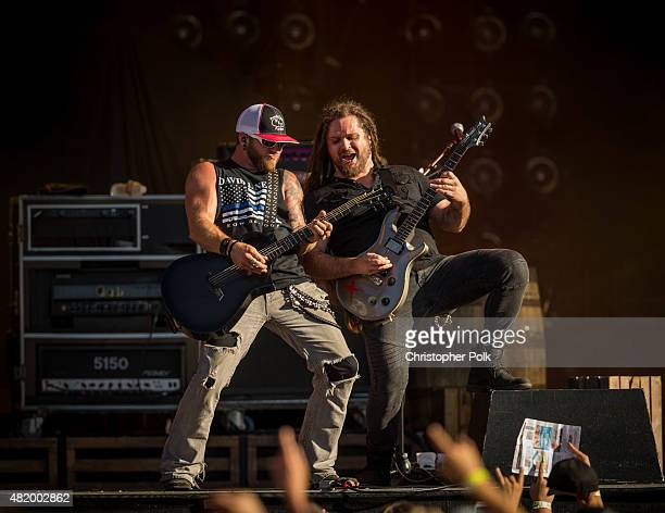 Brantley Gilbert performs during Kenny Chesney's The Big Revival Tour Jason Aldean's Burn It Down 2015 at Rose Bowl on July 25 2015 in Pasadena...