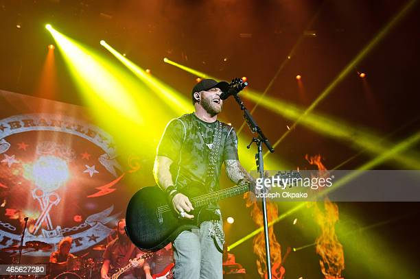 Brantley Gilbert performs on stage during Day 2 of C2C at The O2 Arena on March 8 2015 in London United Kingdom