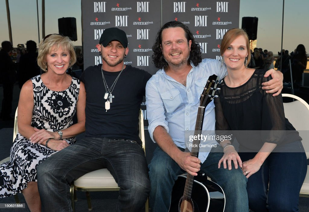 Brantley's mother Becky Gilbert, Brantley Gilbert, Jim McCormick and Fiancee Jenirose Buss attend BMI #1 Party For Singer/Co-Writer Brantley Gilbert and Co-Writer Jim McCormick for 'You Don't Know Her Like I Do' At BMI Nashville on August 22, 2012 in Nashville, Tennessee.