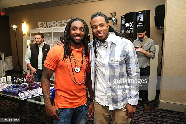 Branton Sherman and Richard Sherman of the Seattle Seahawks attend EXPRESS 1MX Ultimate Shirt Shop Welcome to New Orleans Happy Hour at Hyatt French...