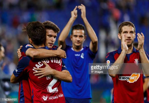 Brasanac of CA Osasuna Nacho Vidal of CA Osasuna and Marc Cardona of CA Osasuna gesture during the Liga match between CD Leganes and CA Osasuna at...