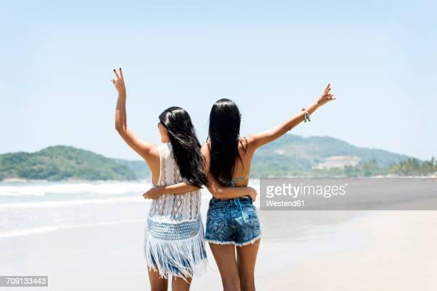 Brasil, Sao Paulo, Ubatuba, two young women standing arm in arm on the beach