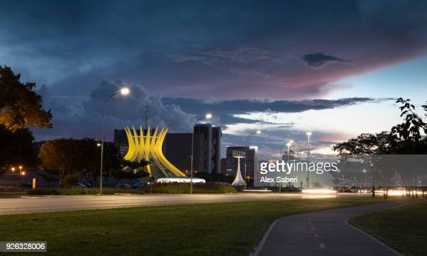 The Cathedral of Brasilia and the Museu da Republica at dusk.