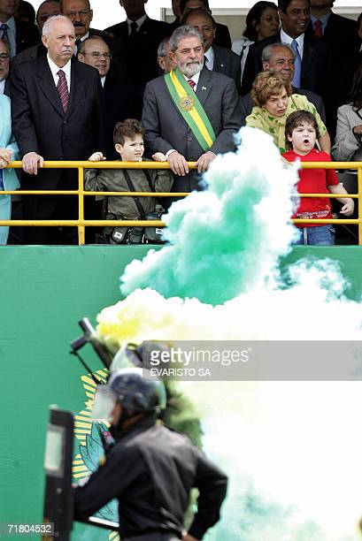 Brazilian vice President Jose Alencar President Luiz Inacio Lula da Silva and first lady Marisa Leticia attend a military parade in commemoration of...