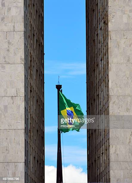 brasilia, brazil: giant brazilian flag - lower_house stock pictures, royalty-free photos & images