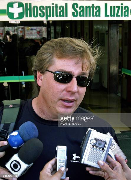 Gustavo Alfredo Stroessner Domingues grandson of Parguayan former dictator Alfredo Stroessner speaks with the press after leaving Santa Luiza...