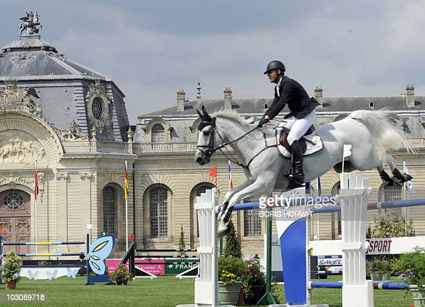 Brasilian Alvero De Miranda Neto jumps an obstacle on Ad Ashleigh Drossel Dan during the International Chantilly Show Jumping as part of the Global...