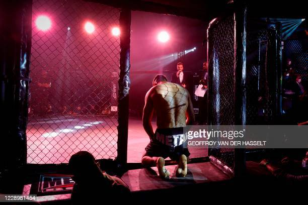 Brasilian fighter Wallace Felipe gets ready to fight during the first official Mixed Martial Arts fight in France, in Vitry-sur-Seine, near Paris, on...