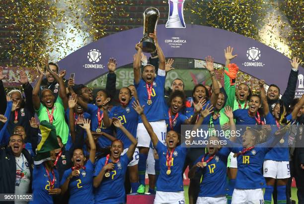 TOPSHOT Brasil's women's national team players celebrate with the trophy after winning the women's Copa America final football match against Colombia...